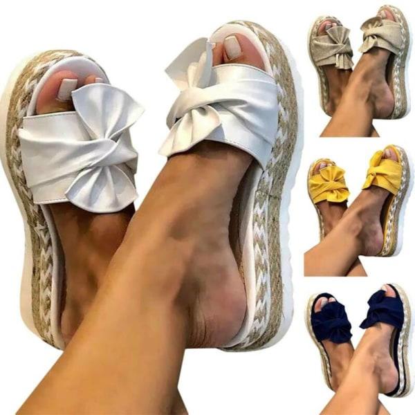 Bow tofflor för kvinnor Espadrilles Beach Flip Flops White 38