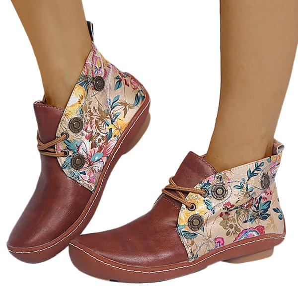 Kvinnors avslappnade retro blommiga fotstövlar vinter varma platta skor Brown 42