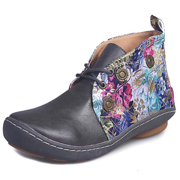 Kvinnors avslappnade retro blommiga fotstövlar vinter varma platta skor Grey 38