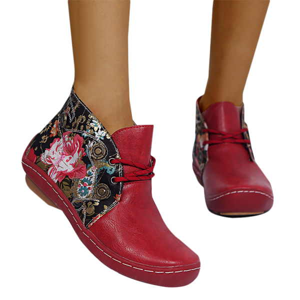 Kvinnors avslappnade retro blommiga fotstövlar vinter varma platta skor Red 36