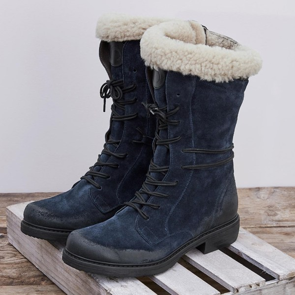 Kvinnors fuskpäls snöstövlar snörning med dragkedja låg klack skor Blue 37