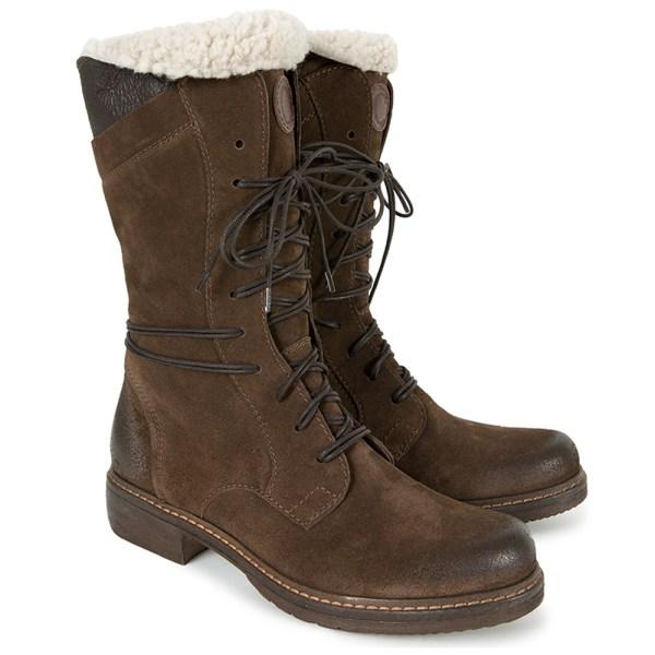 Kvinnors fuskpäls snöstövlar snörning med dragkedja låg klack skor Brown 36
