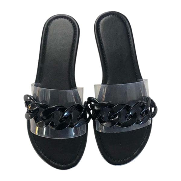 Kvinnors platta sandaler tofflor genomskinliga för klädda sommarkläder Black 37