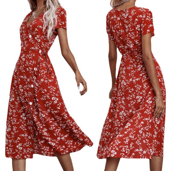 Kvinnors långa klänning i ett stycke med v-ringad delad klänning Red M