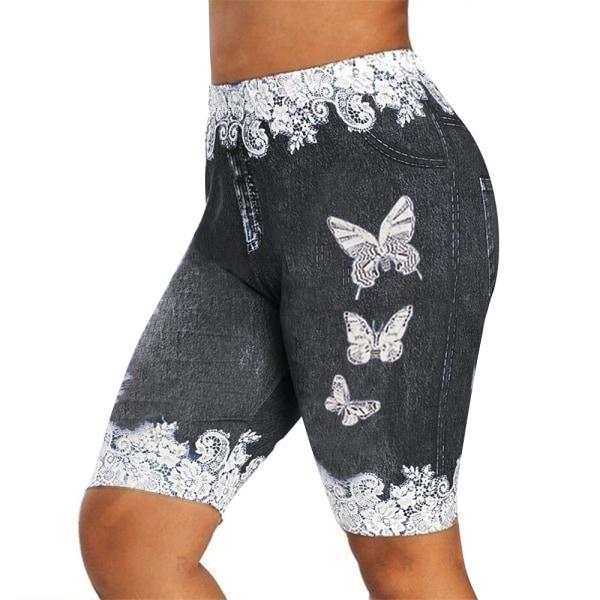 Damtryckt leggings med höftdenim för kvinnor Slim-fit mid-long byxor Deep blue 2XL