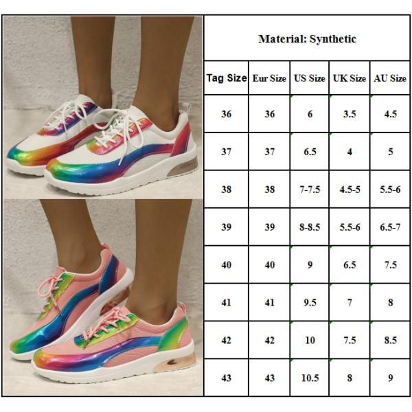 Kvinnors Rainbow reflekterande randiga platta skor Pink 43