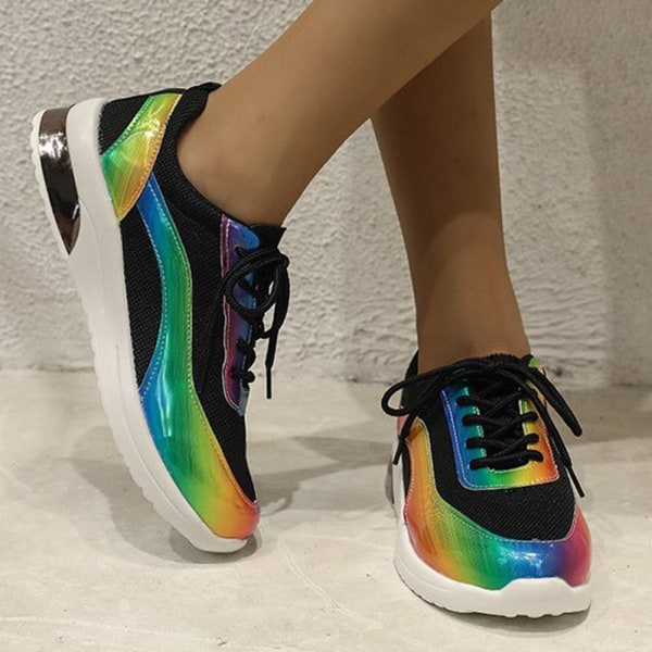 Kvinnors Rainbow reflekterande randiga platta skor Black 40