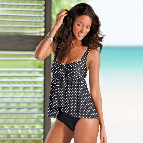 Kvinnors Retro prickiga baddräkt Strandaktiviteter med låg krage Black wave point XL
