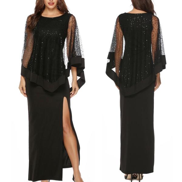 Kvinnors paljettstygn hög midja Slim-fit lång klänning kjol Black XL