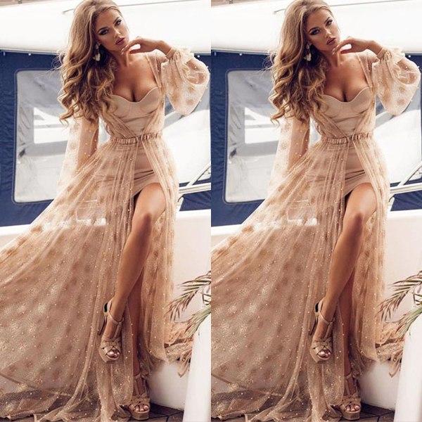 Kvinnors sexiga långärmade klänning tvådelad puffärm andas Apricot M