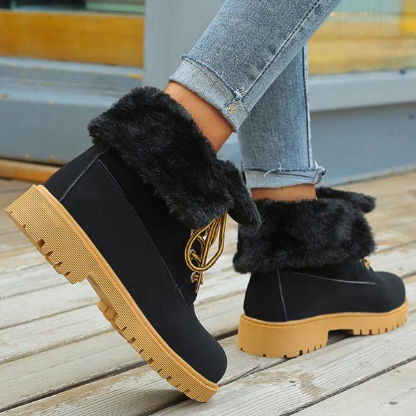Dam Sneaker stövlar vinter hög topp snörning upp fuffly snö skor Black 42
