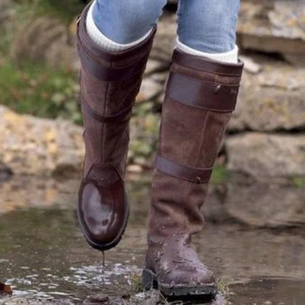 Kvinnors låga klackar Cykling Varma knä hög blixtlås stövlar skor Yellow 37