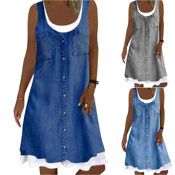 Kvinnors enfärgad rund hals ärmlös casual jeansklänning Light blue L