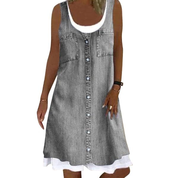 Kvinnors enfärgad rund hals ärmlös casual jeansklänning Gray 3XL