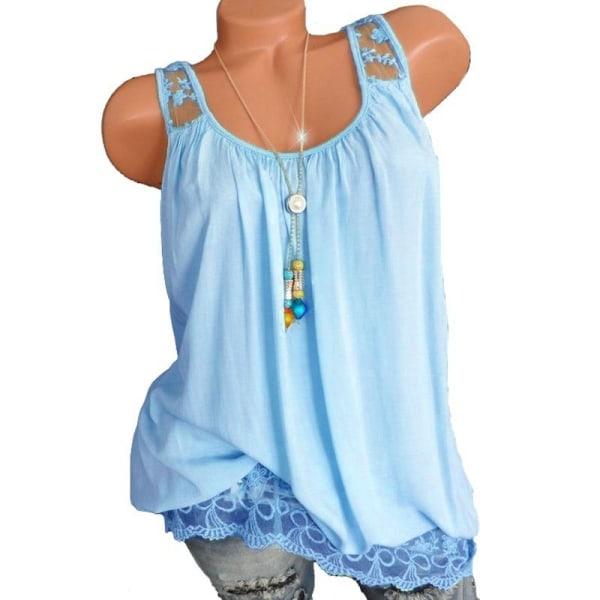 Dam sommar Ensamfärgade linne mjuka Bekväma mångsidiga Blue 3XL
