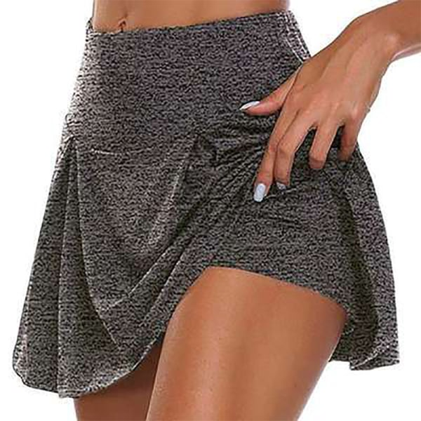 Kvinnor Yoga Culottes Säkerhets kjolar Löpande sport Snygg Gray 3XL