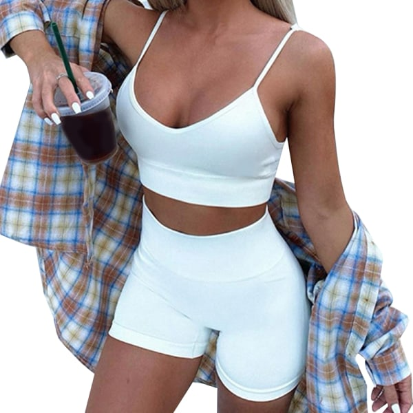 Ladies Yoga Vest Set Pure Color Sling Andas elastiska sporter White S