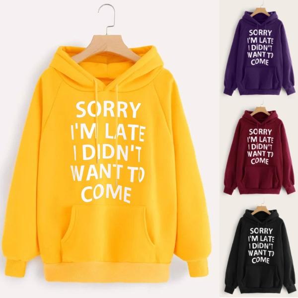 Kvinnor Slogan Hoodies Sweatshirt Hooded Blouse Pullover Jumper Black 2XL