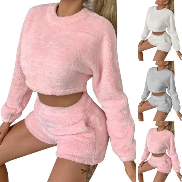 Kvinnor Mjuk Långärmad Crop Top Shorts Träningsoverall Lounge Sets White L