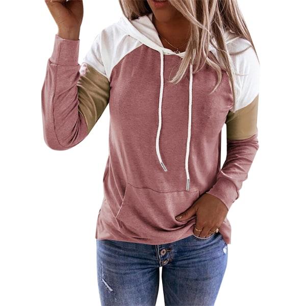 Kvinnors skarv Långärmad tröja Casual T-shirt med huva Pink S