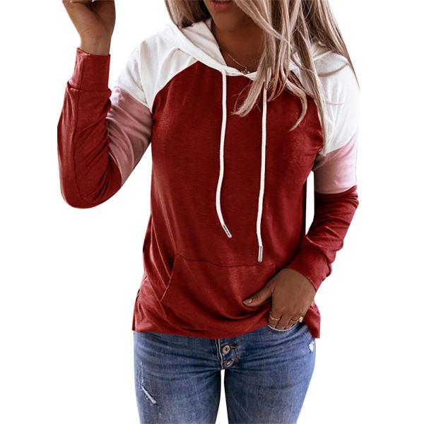 Kvinnors skarv Långärmad tröja Casual T-shirt med huva Red M