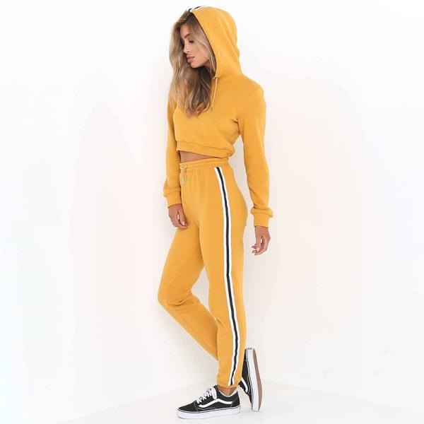 Kvinnor Sweat Suit Jogger Set Lady Hoodies Sports Lounge Sets Yellow S