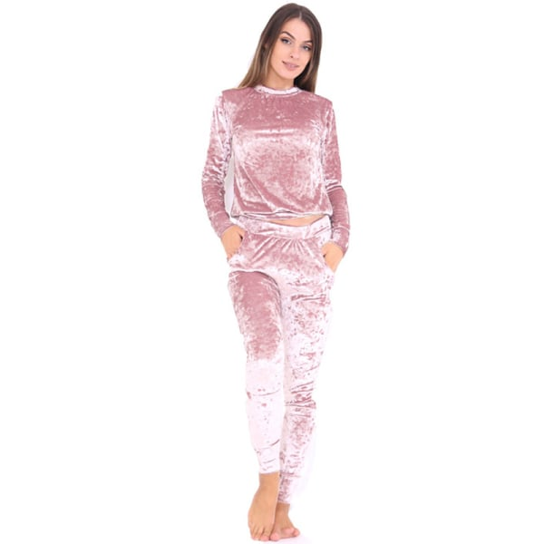 Kvinnor Toppar Byxor Set Pullover Velvet Tracksuit Lounge Sets Pink XL
