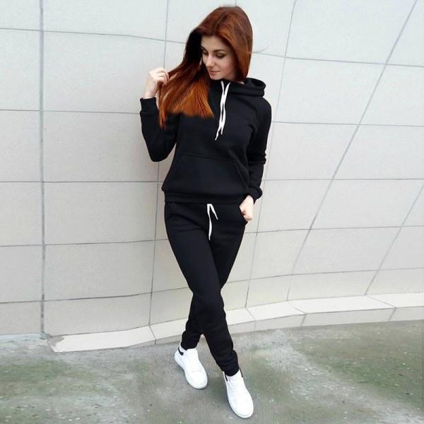 Kvinnor Träningsoverall Fleece Hoodie Toppar Tröjor Byxor Lounge Sets Black S