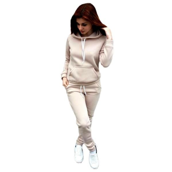Kvinnor Träningsoverall Fleece Hoodie Toppar Tröjor Byxor Lounge Sets Khaki XL