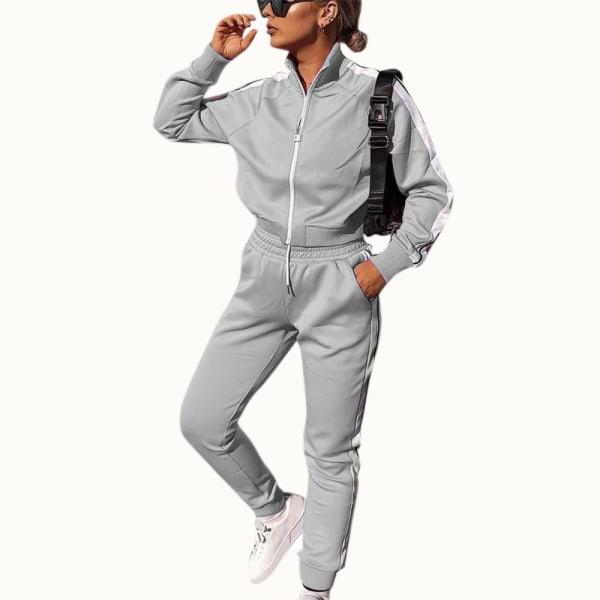 Kvinnor Träningsoveraller Set Plain Tops Byxor Gym Sport Loungewear Grey S