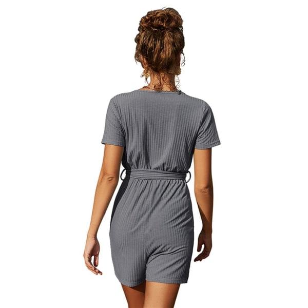 Kvinnors V-ringning Lågskuren sexig kortärmad slips Midja Jumpsuit Gray M