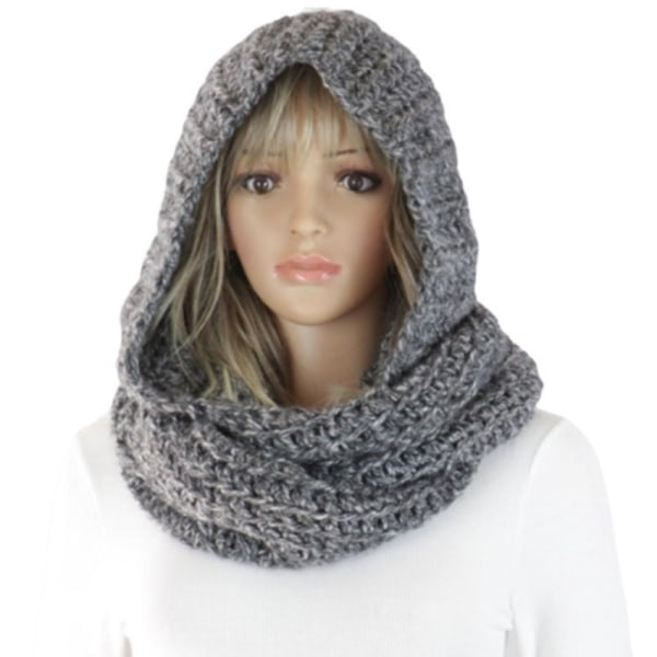 Kvinnor vinter stickad huva halsduk hals varmare head Wrap ljuddämpare Beige