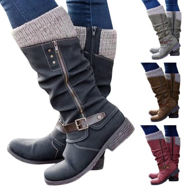 Kvinnor vinterstickade mittkalvstövlar Zip Up Casual Shoes Red 37