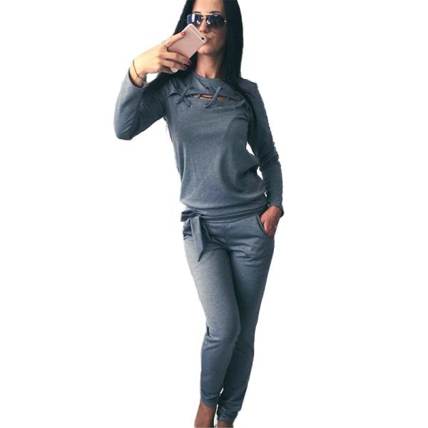 Kvinnors 2st Träningsbyxor Huvtröjor Byxor Bär Sports Lounge Sets Grey L