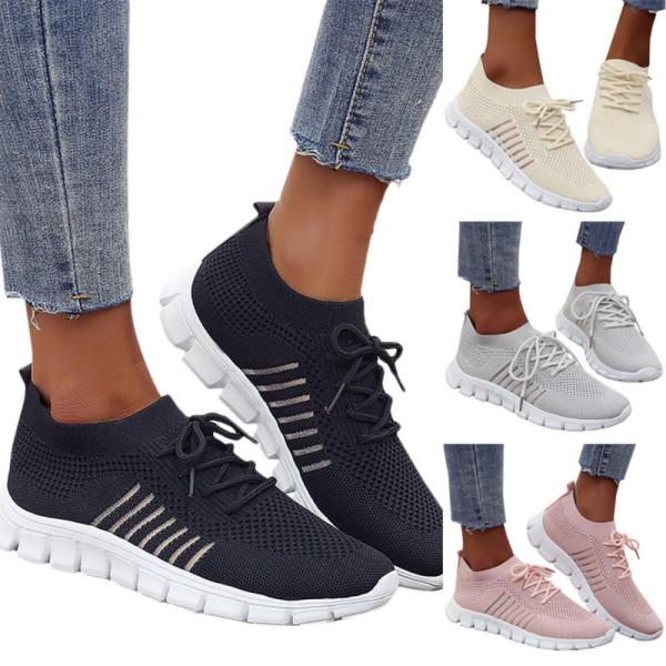 Kvinnors andningsbara snörskor Sneakers Sköna avslappnade skor Beige 42