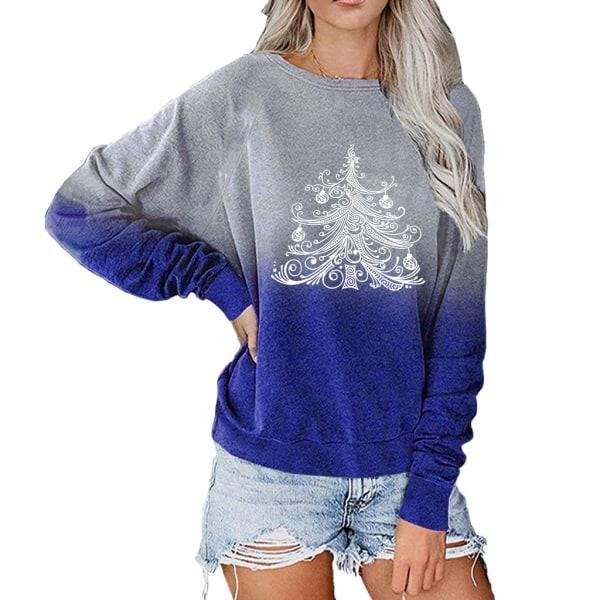 Kvinnors jul långärmad blus Xmas Tree Tops Jumper Casual Blue XL