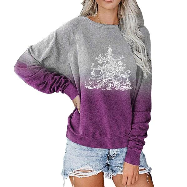 Kvinnors jul långärmad blus Xmas Tree Tops Jumper Casual Purple 2XL