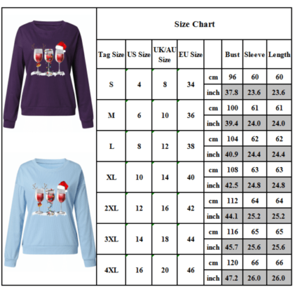 Kvinnors jul långärmad tröja tröja Xmas tröja Purple XL