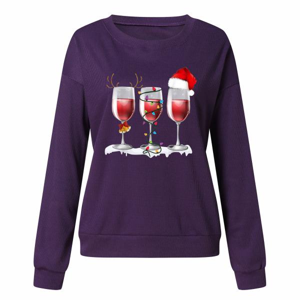 Kvinnors jul långärmad tröja tröja Xmas tröja Purple 3XL