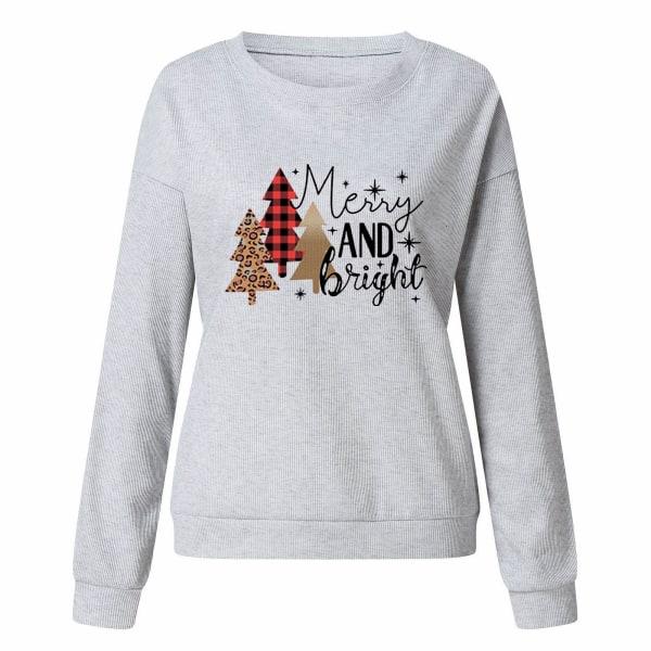 Kvinnors jultröjablus Crew Neck Xmas-tröja Grey 4XL