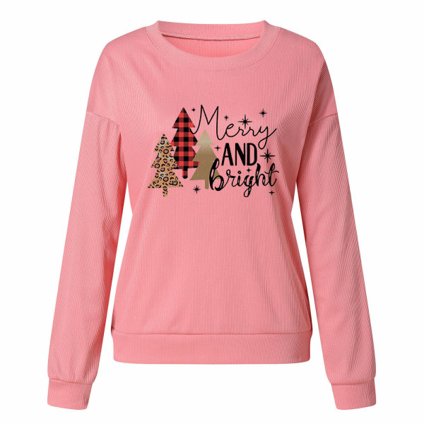 Kvinnors jultröjablus Crew Neck Xmas-tröja Pink S
