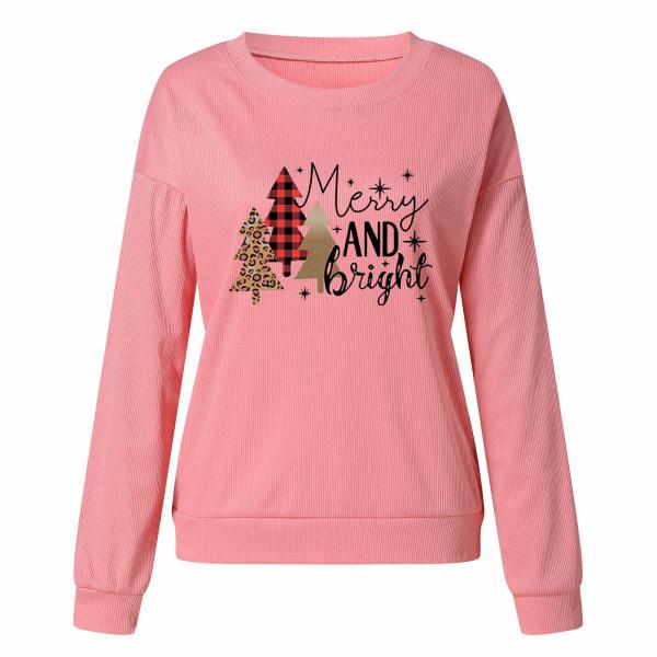 Kvinnors jultröjablus Crew Neck Xmas-tröja Pink XL