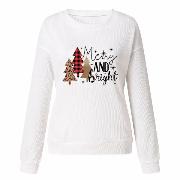 Kvinnors jultröjablus Crew Neck Xmas-tröja White 3XL