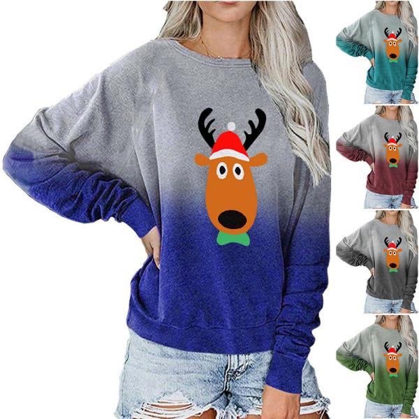 Kvinnors jul renar långärmad tröja Casual blus Grey 2XL