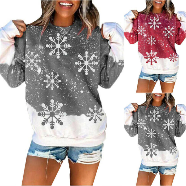 Womens Christmas Snowflake Xmas Casual Pullover Toppar Red M