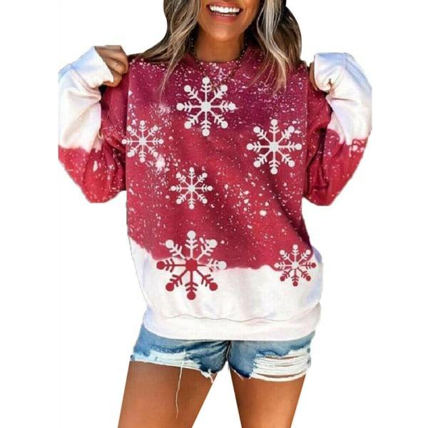 Womens Christmas Snowflake Xmas Casual Pullover Toppar Red 5XL