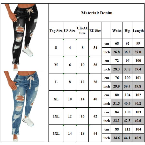 Kvinnors elastiska midja dragsko Rippade Slim Jeans Denim byxor Black S