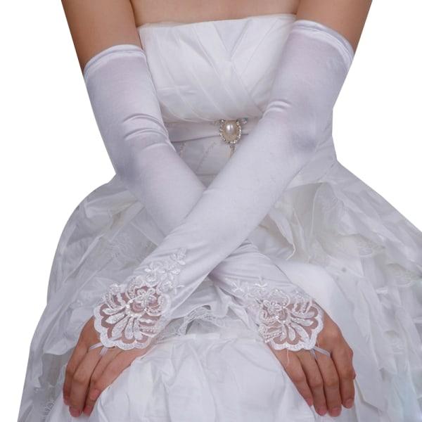 Kvinnors Fingerless fisknät Satinhandskar Kvällsbröllopshandskar White