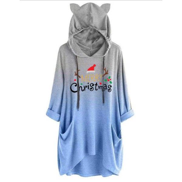 Womens Gradient Christmas Hoodie Ladies Hooded Top Sweatshirts Blue S