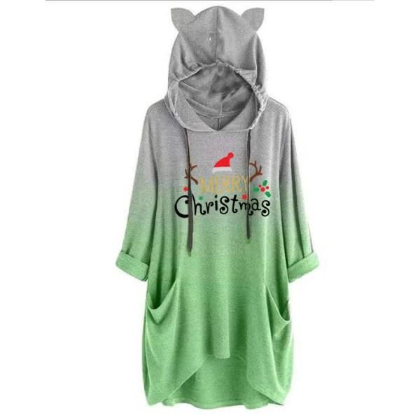 Womens Gradient Christmas Hoodie Ladies Hooded Top Sweatshirts Green L